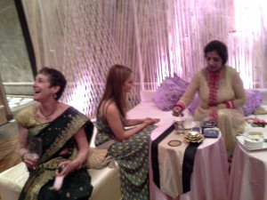 Coffee Cup Reading in progress at a Pre-Wedding Function by Mrs Neera Sareen