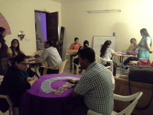Tarot Card Reading being practiced by students during Tarot Reading Class conducted by Neera Sareen at her Centre