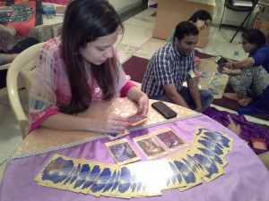 Students Practicing Angel Card Reading under the able guidance of Neera Sareen