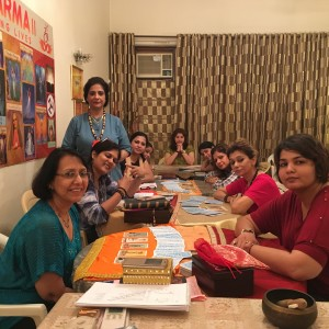 Tarot-Reading-Practice-session-for-students-being-conducted-by-Neera-Sareen-The best Tarot Reader in Delhi and around ;at-her-holistic-Centre-Aum-Karma-in-South-Delhi-New-Delhi