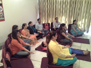Meditation being conducted at Karmic Centre by Neera Sareen
